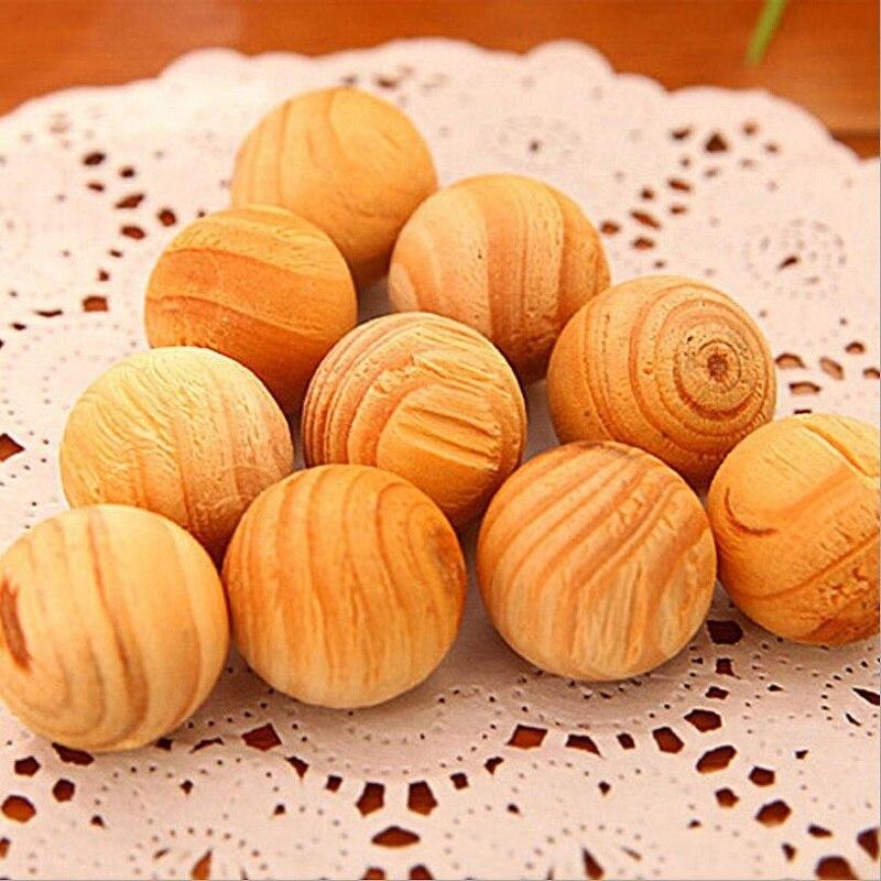 10 bolas repelente de insectos a prueba de humedad alcanfor bola de madera Natural no tóxico previene el molde y la polilla