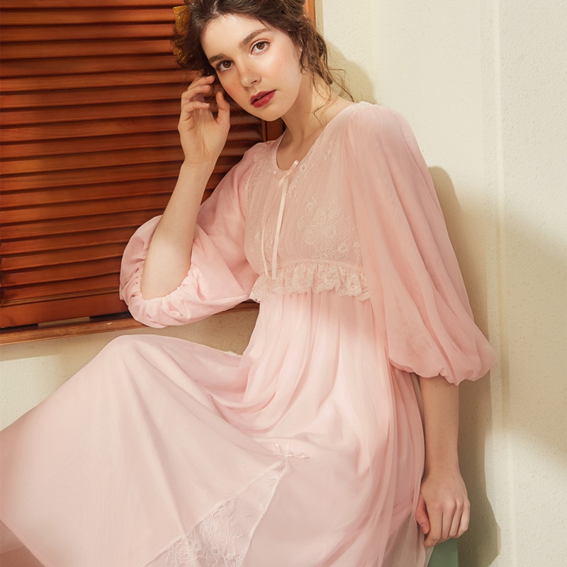 Cotton Sleep Lounge Vintage Night Dress Spring Women Sleepwear Dress Nightdress Homewear Princess Lo