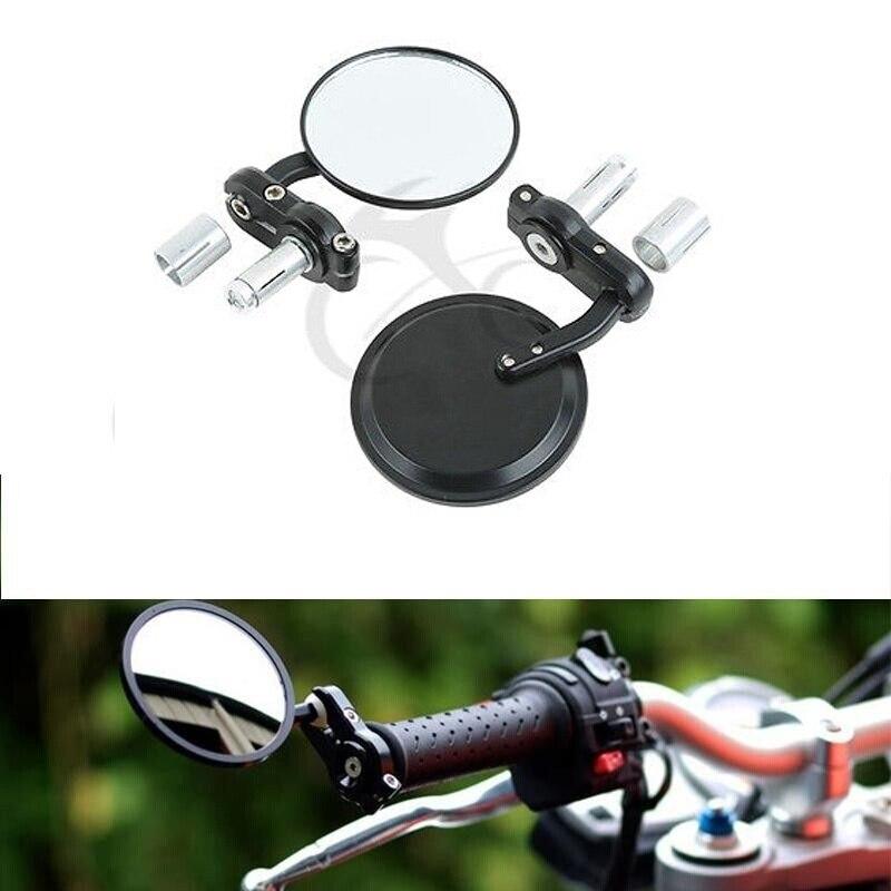 """Мотоциклетное боковое зеркало с 3 """"круглыми 7/8"""" ручками, боковым зеркалом для Harley Honda Suzuki Yamaha Кафе Racer Bobber, универсальное, 2 шт."""