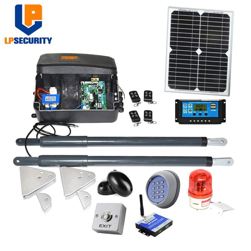 Kit de motor de puerta oscilante solar de 12VDC, brazo lineal automático con panel solar y controlador (sensor, botón, luz, abridor gsm opcional)