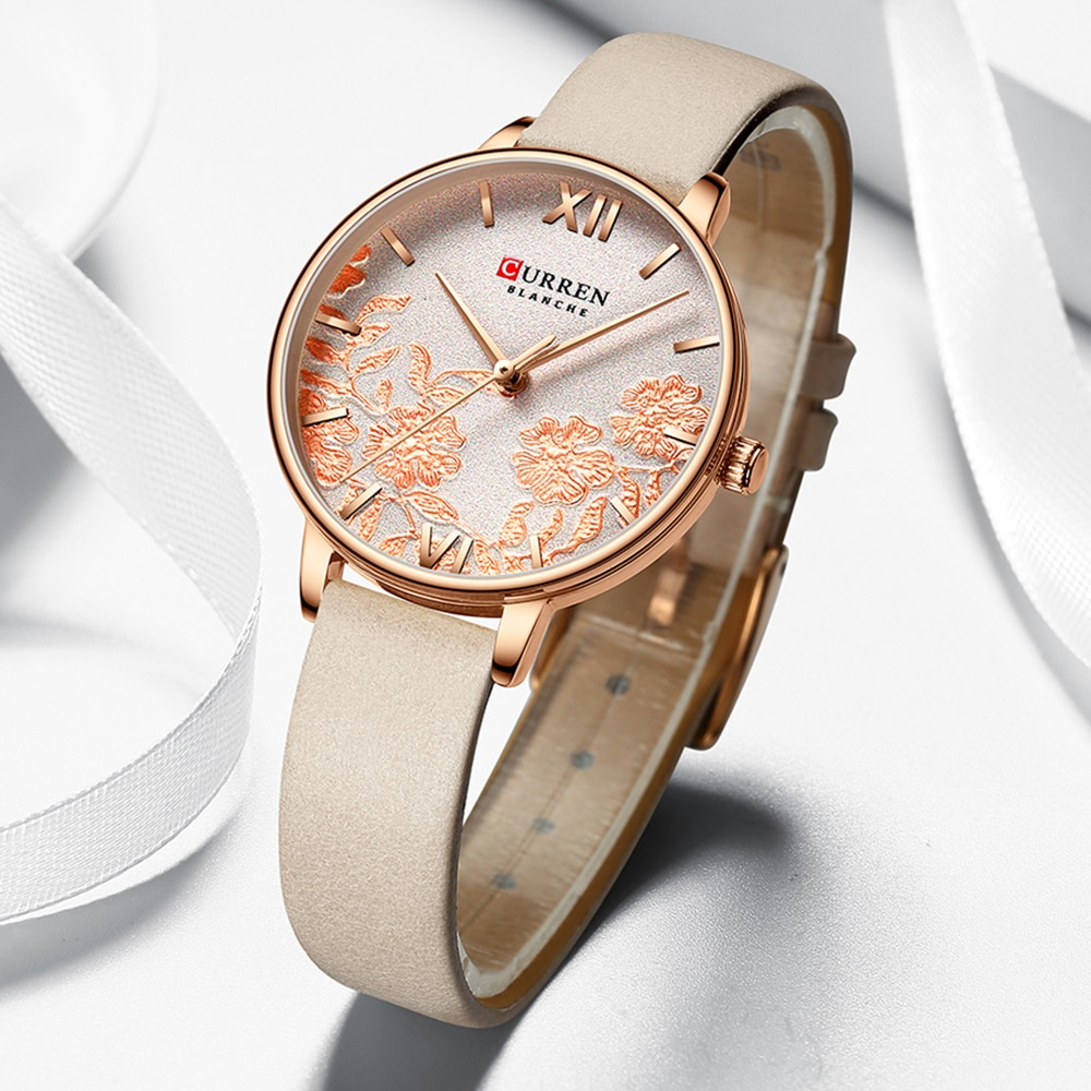 CURREN Ladies Watch Pink Flower Dial Quartz Leather Wristwatch Relogio Feminino Casual Rose Gold Analog Watches Women Dress Gift enlarge