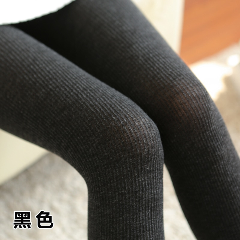 Nuevas pantimedias gruesas de lana de conejo de otoño e invierno Raya vertical de Jacquard medias ajustadas de alta elasticidad para mujeres y niñas