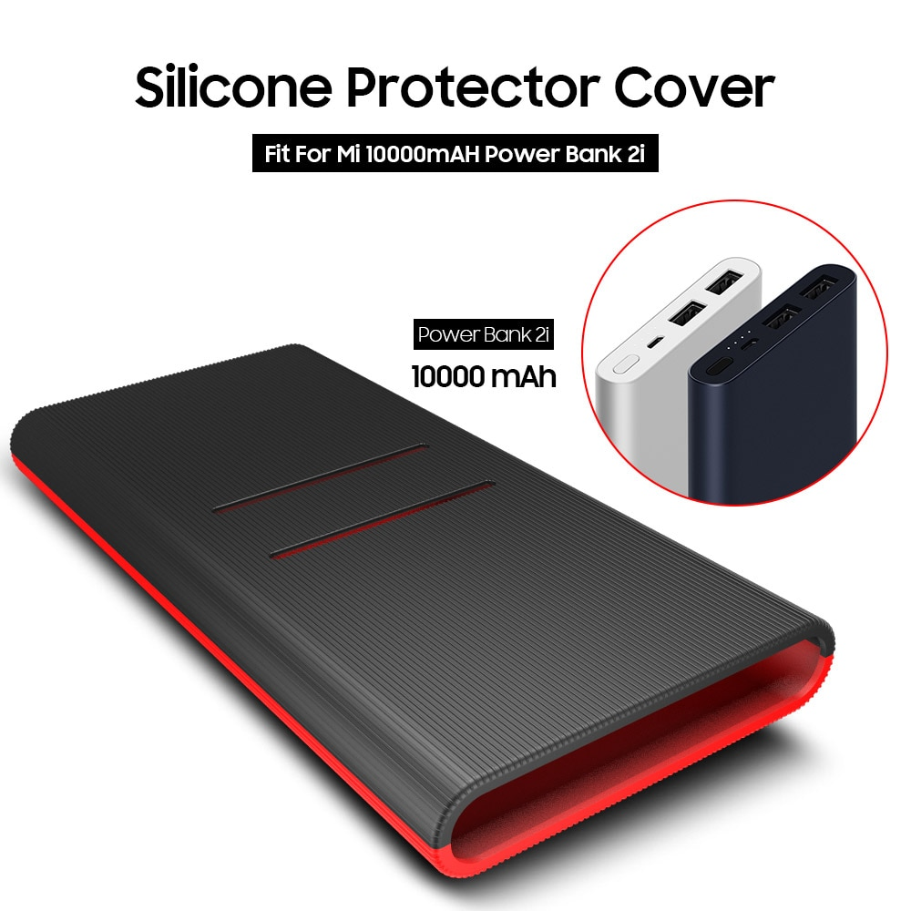 Silicone Protector Case Cover Skin Sleeve Bag for New Xiaomi Xiao Mi 2 10000mAh Dual USB Power Bank