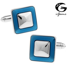 iGame Men Gift Blue Cufflinks Wholesale&retail Blue Color Copper Material Fashion Square Enamel Desi