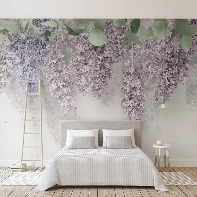 Фото обои 3D фиолетовая Вистерия Цветочные фрески Свадебный дом гостиная Романтический домашний декор настенная бумага для стен 3D фрески