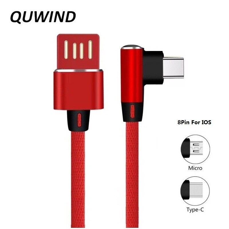 QUWIND 90 grados 8Pin tipo C Micro Usb Reversible Cable de datos USB 1M para el iPhone 6 7 8 X Samsung HuaWei Xiaomi Android