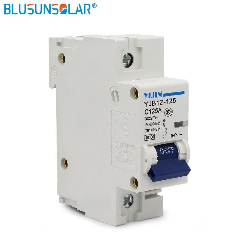 1 unid/lote Mini 1 P 125A DC220V disyuntor MCB para protección del sistema Solar PV