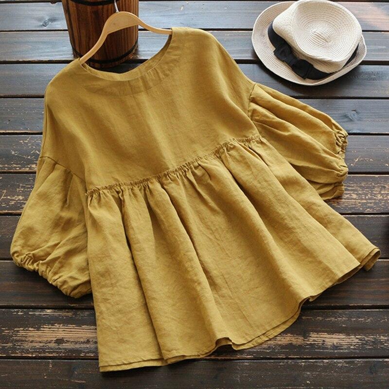 Moda Blusa con volantes túnica de verano para mujer 2020 ZANZEA Vintage informal de lino Tops mujer 3/4 manga farol Blusas plisadas camisas