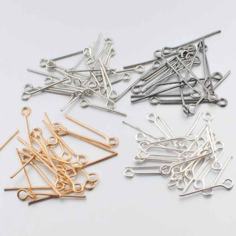 40 g/lote 9 Ródio Cor Ouro Prata Olho Pins 20 24 28 32 35 40 45 MM Comprimento Ferro Olho headpins Fit DIY Fazer Jóias Encontrar