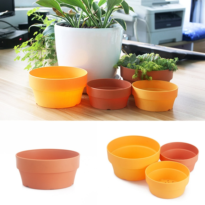 2Pcs Round Hollow Flower Pots Succulent Plants Flowerpot Home Nursery Garden Decoration Supplies