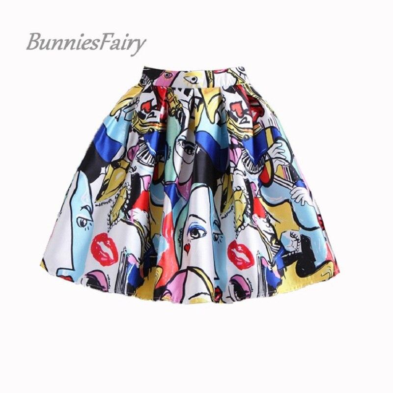 BunniesFairy 50s, minifaldas de Skater plisadas con dibujo grafiti y elementos a la moda de verano estilo europeo y americano Vintage para mujer
