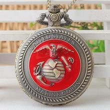 Offre spéciale Europe et états-unis marine corps motif chiffre arabe bonne qualité cadeau collier montres de poche