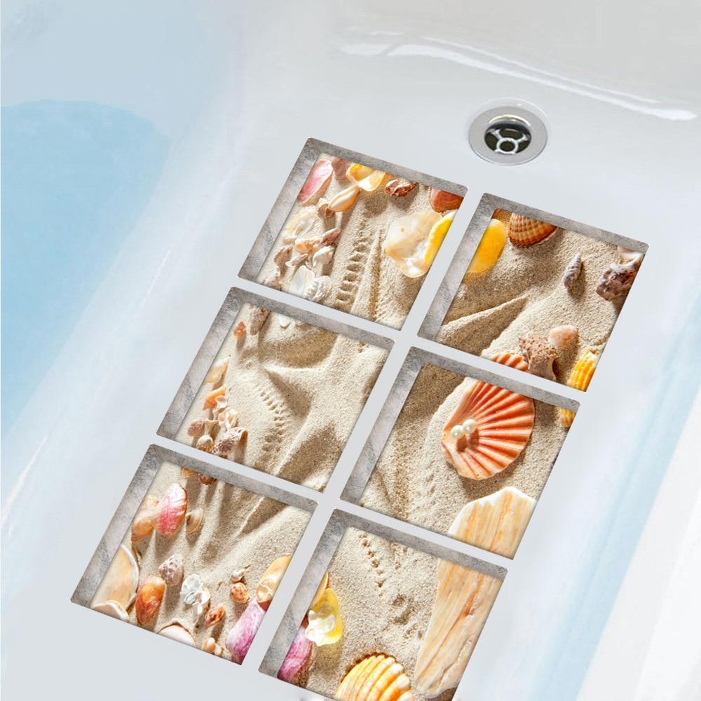6 unids/set 3D pegatinas antideslizantes para bañera pegatinas impermeables para bañera decoración de pared de baño pegatina de seguridad concha de playa 15x15cm