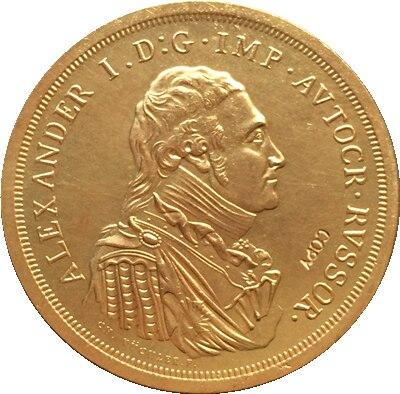 Позолоченные русские монеты 24 К, 1 рубль 1804, 41 мм