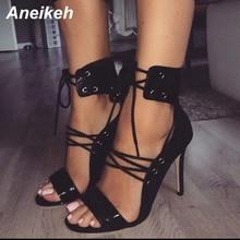 Aneikeh 2019 Yaz Yeni Moda Sandalet Pompaları Yüksek Topuk Ayakkabı Kadın Seksi Bayan Ayak Bileği Sapanlar Siyah Çapraz bağlı Sandalet dropshipper