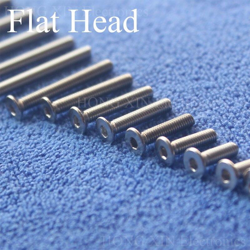 1 Uds M3 cabeza plana acero inoxidable 304 tornillo avellanado tornillo Allen cabeza hexagonal cabeza avellanada 16 tipos