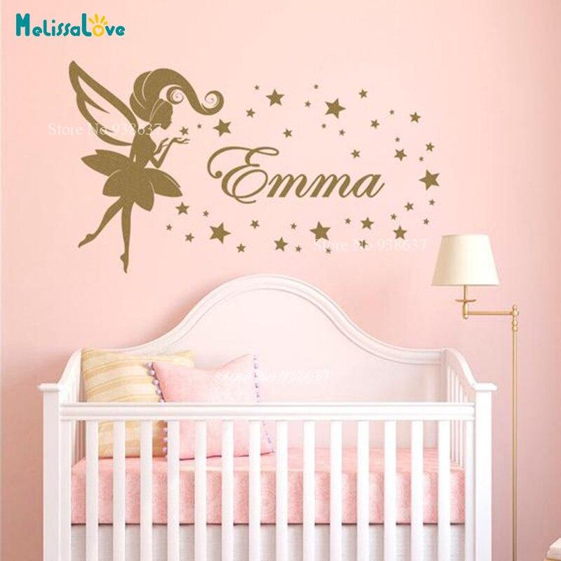 Adesivo de parede personalizado b945, adesivo de parede para quarto de meninas e bebês