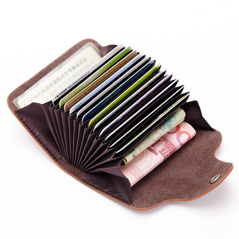 Cartera de cuero genuino sólido a la moda para mujer con tarjetero para hombre con bolsillo para monedas