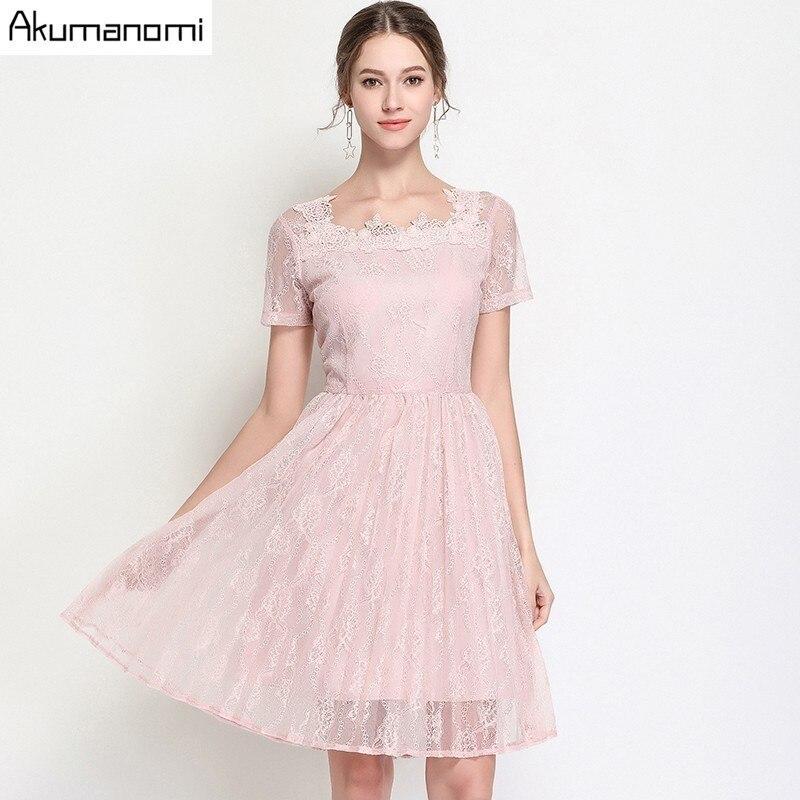 Vestido de encaje de verano ropa de mujer vestido de mangas cortas drapeado con cuello cuadrado Rosa negro vestido de talla grande de alta calidad 5XL 4XL 3XL 2XL L