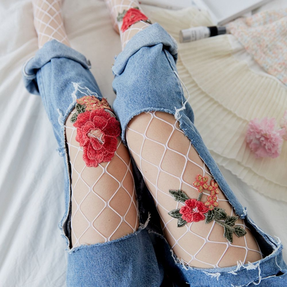 Medias sexis de malla transparente para mujer, medias de seda con flores, medias de malla, medias de flores bordadas para mujer