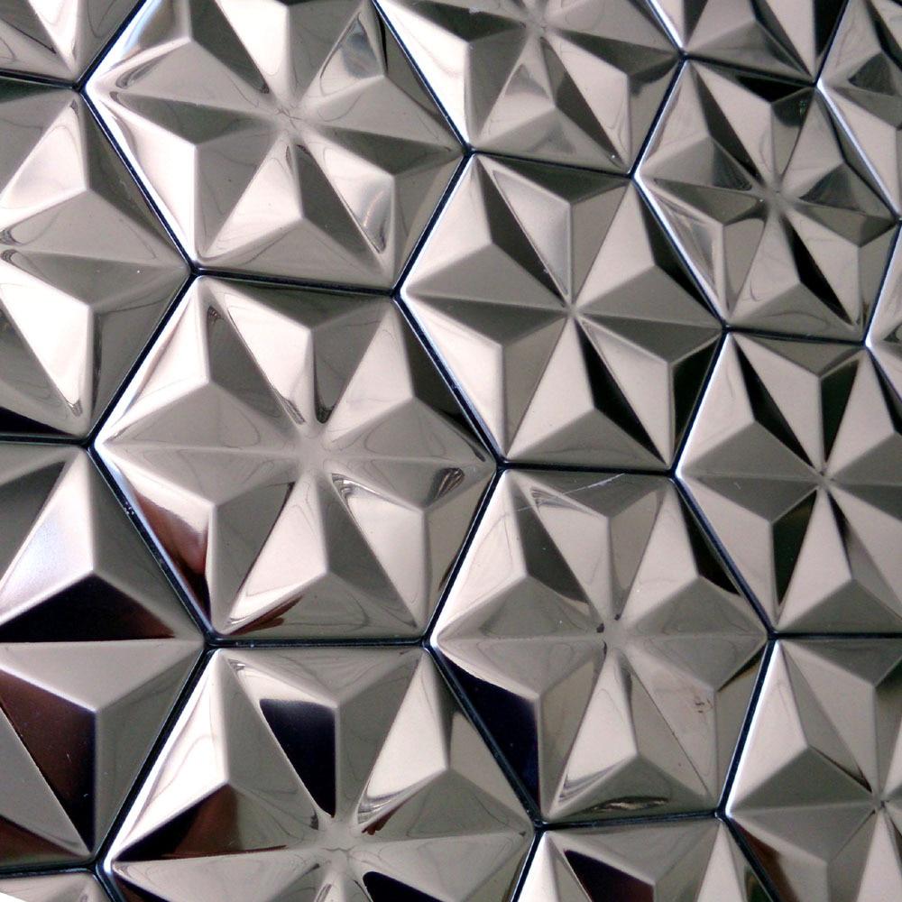 Carreaux de mosaïque métalliques en acier inoxydable   design de flocons de neige argentés auto-adhésifs pour la cuisine, carreaux de backsplash véranda de chambre à coucher