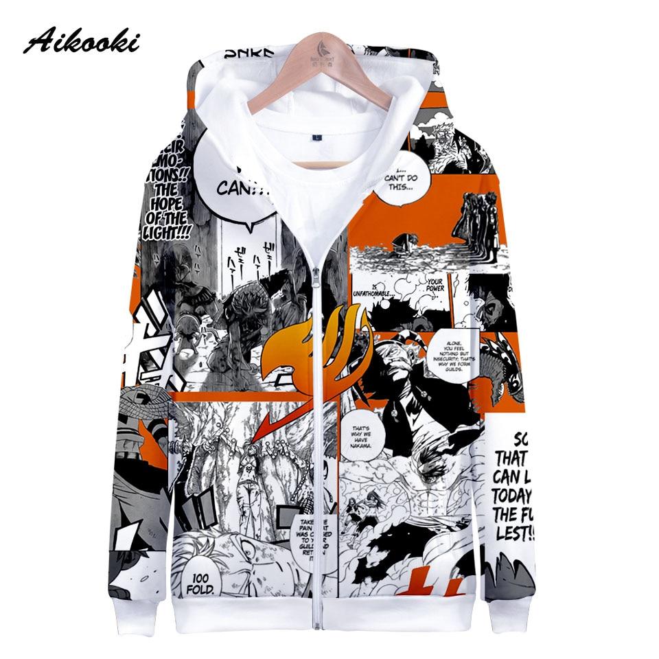 Sudadera Aikooki Fairy Tail con cremallera para hombre/mujer, Sudadera con capucha 3D Fairy Tail con capucha para niño/niña, Otoño Invierno, Polluver con tapas