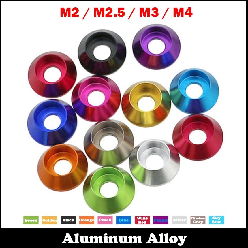 M2 m2.5 m3 m4 pêssego azul titânio cinza cabeça cone taper gaxeta anodizado liga de alumínio diy shim carro modelo arruela