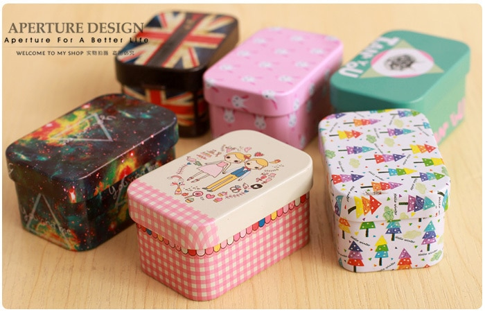 Free Shipping Small rectangle  tea tin box  metal  storage case  jewelry box candy  box