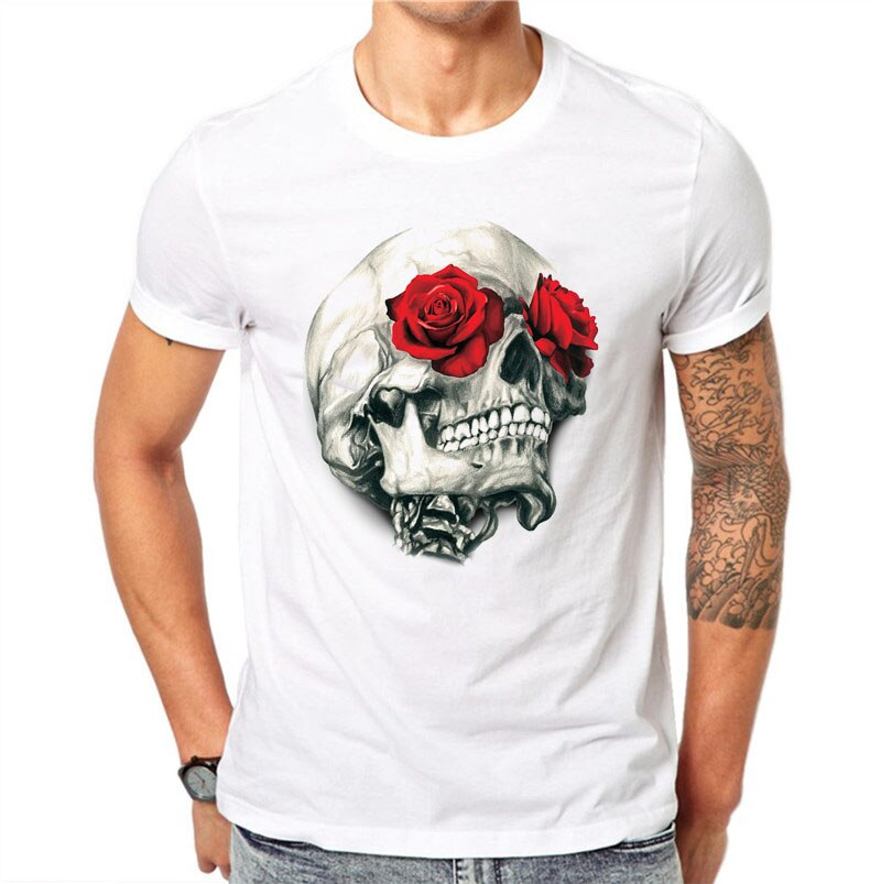 Мужская футболка с коротким рукавом, 100% хлопок, Харадзюку, модный красная роза