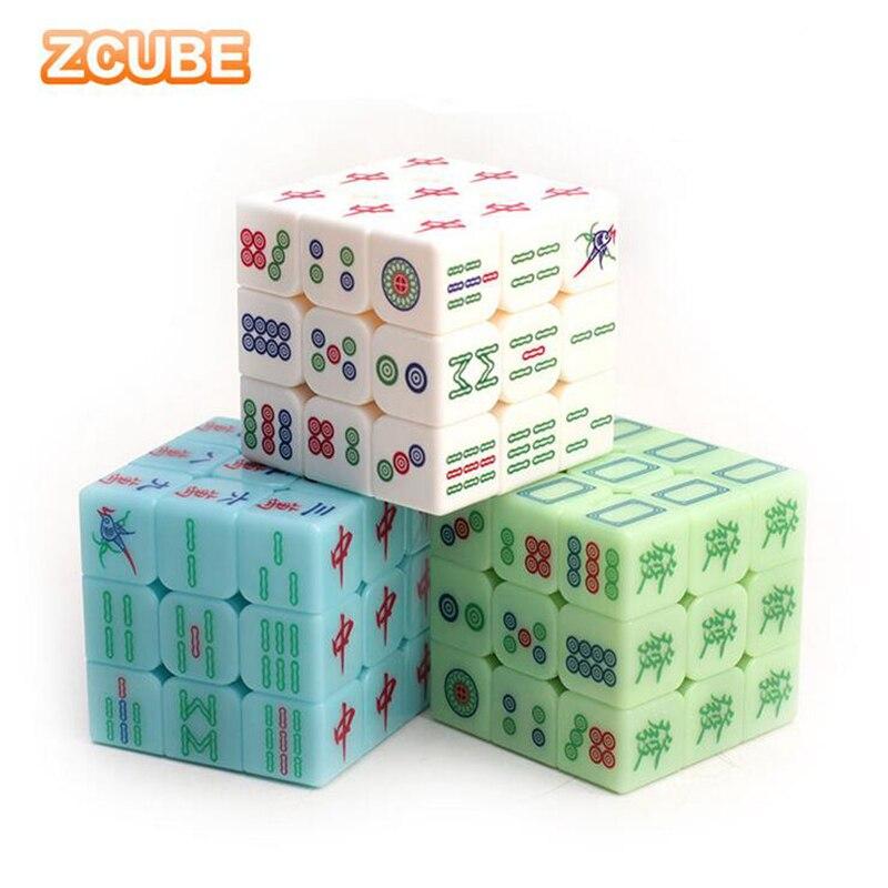 3x3x3 Zcube магические кубики в китайском стиле маджонг Кубики-головоломки гладкие прозрачные Светящиеся Кубики обучающие игрушки для детей
