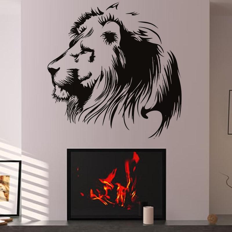 Calcomanías de animales salvajes para decoración del hogar moderna, calcomanías de animales, calcomanías de pared, murales, caligrafía, arte de sala de estar extraíble para papel tapiz, impermeable