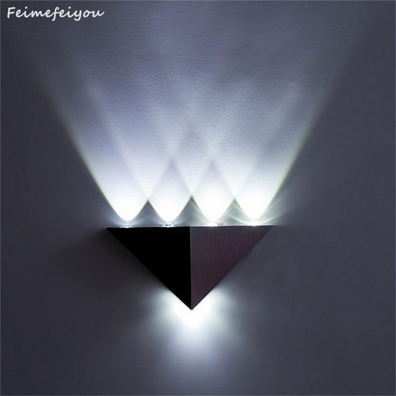 Barra led Feimefeiyou DIY, lámpara led de 5W de múltiples colores, cuerpo de aluminio, triángulo, luz de pared para iluminación del hogar, candelabro de pared