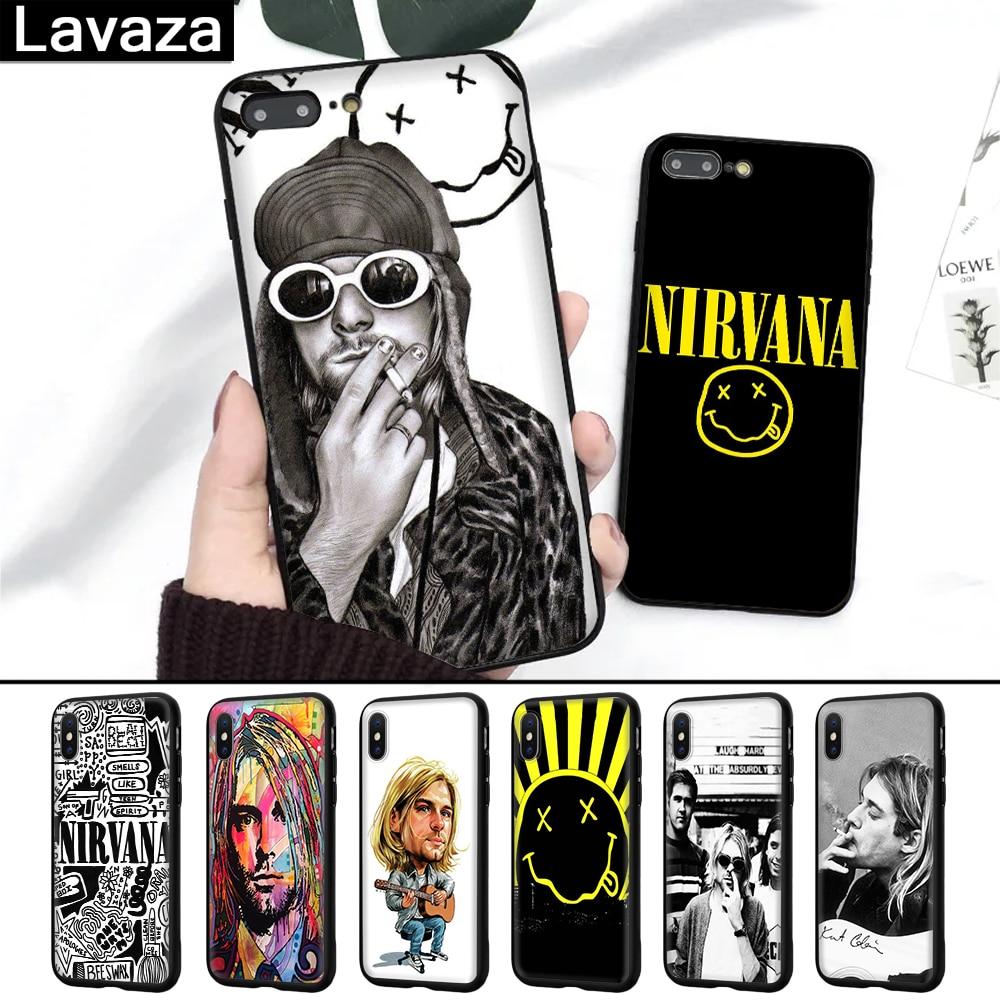 Lavaza Nirvana Kurt Cobain Silicone Case for iPhone 5 5S 6 6S 7 8 11 Pro Plus X XR  XS Max