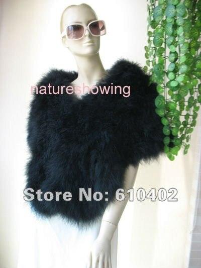 Women's Winter Genuine Real Ostrich Fur Scarf /Cape / Wrap /Pashmina Noble Present  black