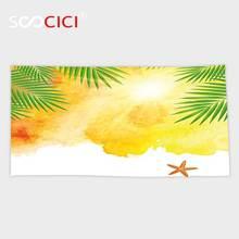 Serviette de bain/petite serviette Ultra douce   Peinture dété sur le thème de la mer et des feuilles de palmier, en microfibre, pour les vacances et le soleil