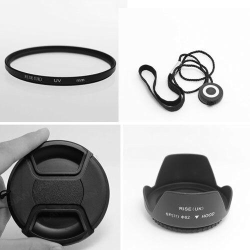 Filtro UV de 58MM + capucha de lente + tapa + cuerda de tapa de lente para Canon EOS 400D 550D 500D 600D 1100D Nikon D80 D50 D7000 D3100 DS DSLR