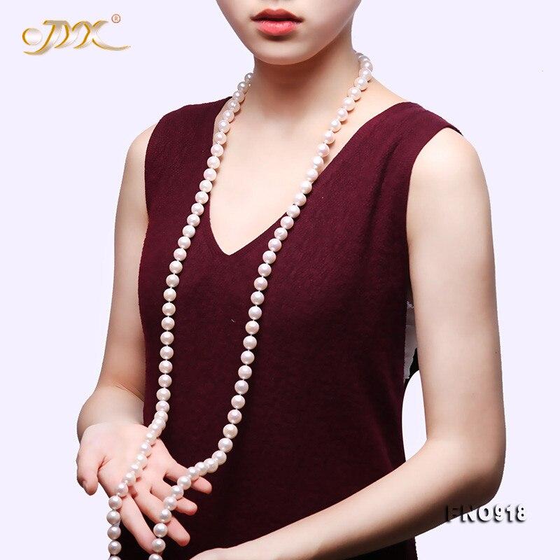 "JYX 2019 nuevo collar largo de perlas redondas AAA + 9-10mm blanco naturales cultivadas en agua dulce perla mujeres suéter collar 50"""