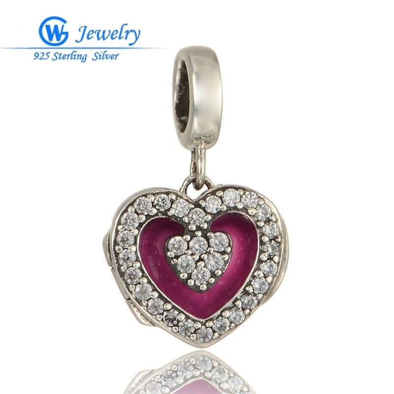Colgante de corazón de plata 925 para mujer, cuentas abiertas con colgantes...