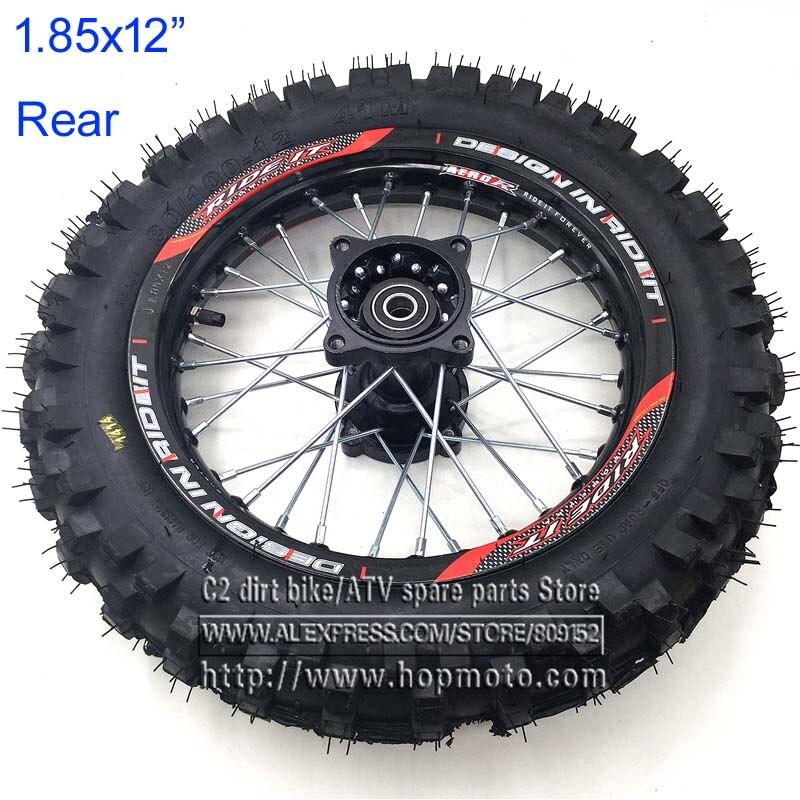 80/100-12 Tyres 1.85 x 12inch Rear Rims Wheel Steel Hub Black Wheels 32 spoke 12mm 15mm axle hole for dirt pit bike Kayo Apollo