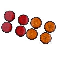 Réflecteur rond pour moto 2 pouces   4 paires, monté sur le goujon, ambre pour voiture, rouge Orange 5.5cm