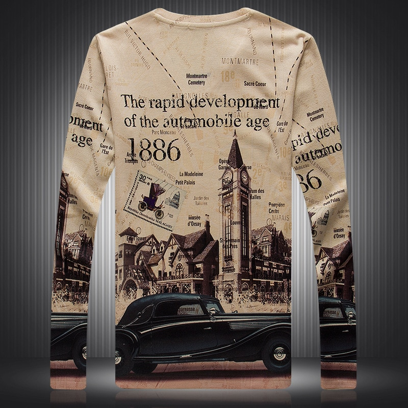 Estilo Europeo retro reloj Torre coche estampado manga larga Camiseta otoño 2018 nueva calidad de algodón de lujo camiseta hombres M-3XL