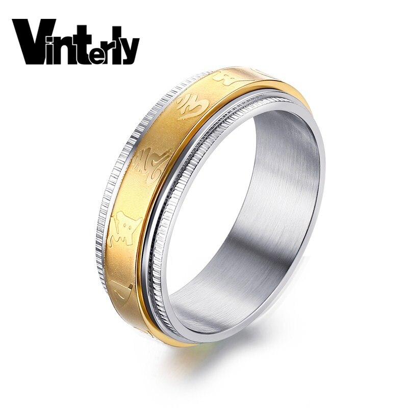 Joyería de moda Vinterly, religión budista tibetano, seis palabras, Mantra de Color dorado, anillo hilandero de acero inoxidable de 7mm para hombres