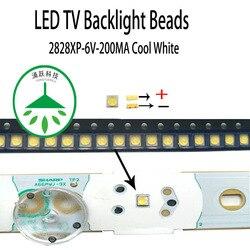 200 pçs/lote nova alta potência led 2828 6v 200ma contas de luz branco fresco para reparação led tv lcd backlight bar e tira quente