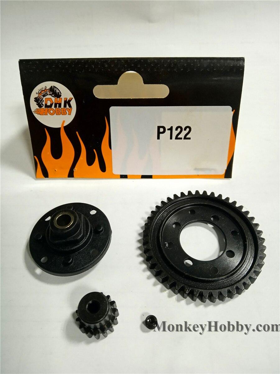 DHK RC piezas del coche Central Diff Gear-43T (aleación de Zinc) P122 para Optimus XL Zomebie 8e