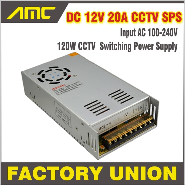 Universal 240w Adapter Switching CCTV Power Supply AC/DC Input AC 100-240V To DC 12V 20A Switch for DVR CCTV camera Power Supply