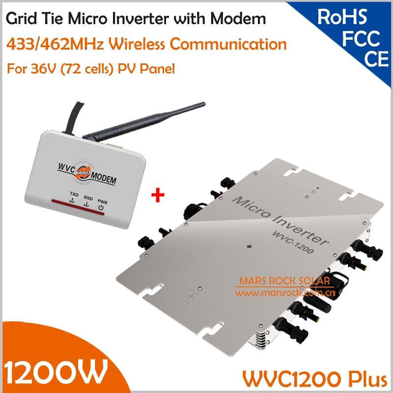 Водонепроницаемый 1200 Вт MPPT сетевой микро инвертор и модем с функцией беспроводной связи 433/462 МГц, 22-50VDC к AC110V/220 В