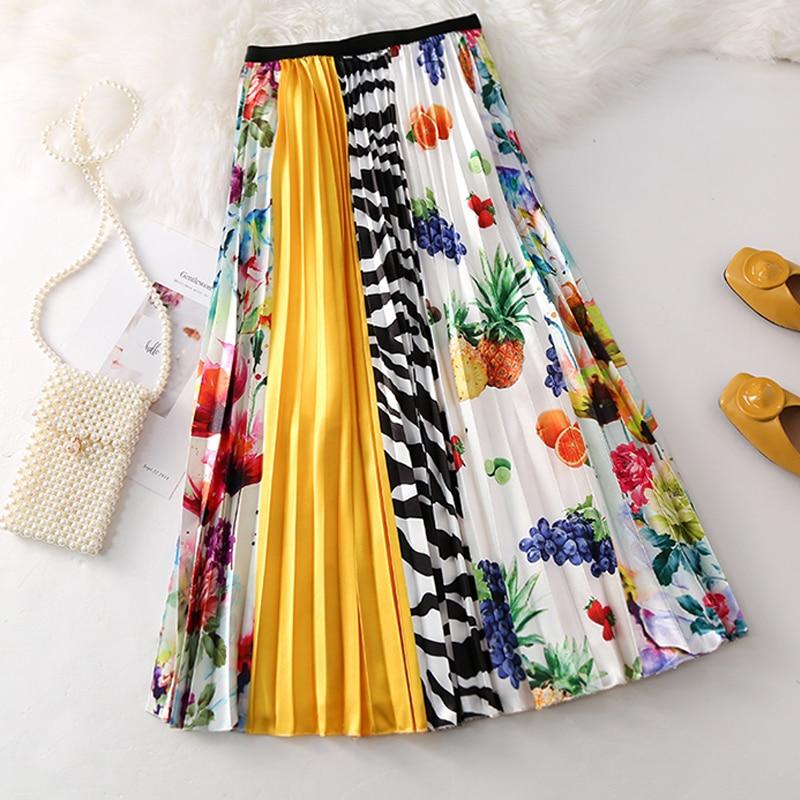 Falda larga plisada de dibujos animados, falda de cintura alta de estilo europeo para mujer, faldas Midi de calle alta de primavera y verano 2019, cintura elástica, línea A