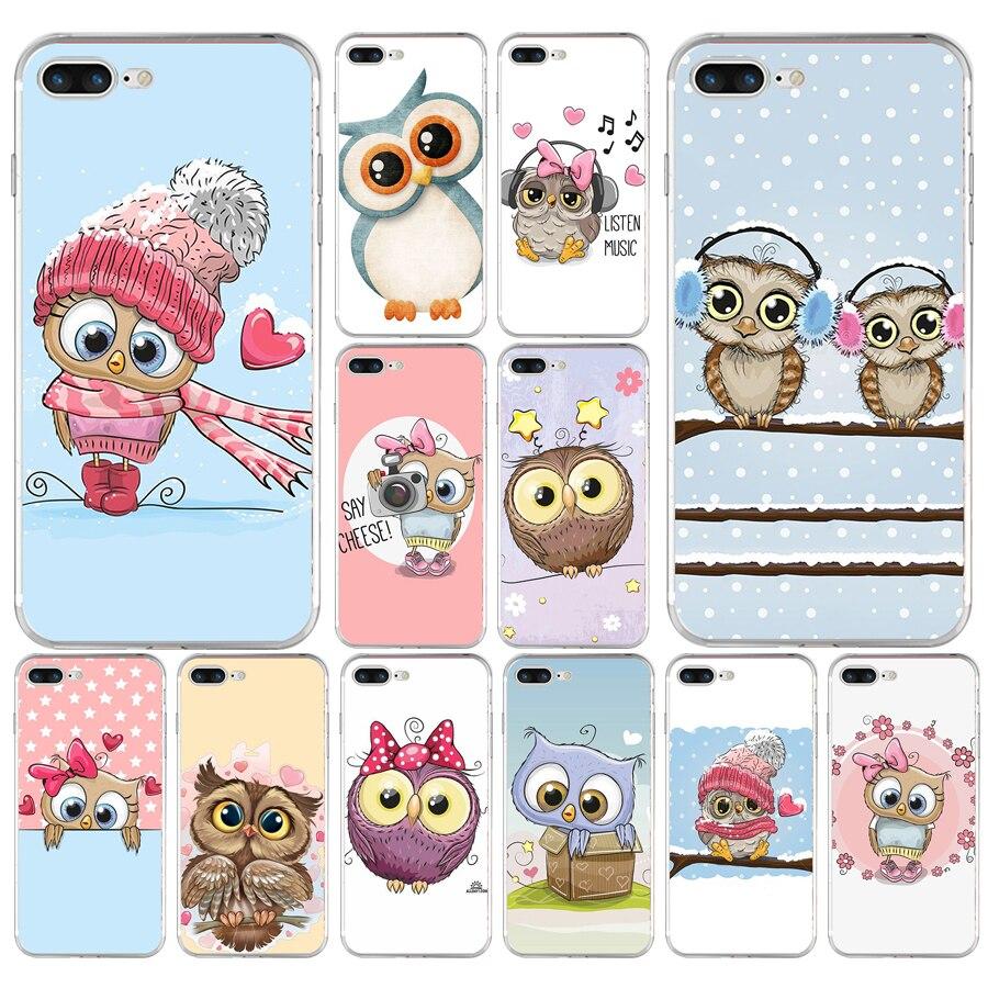 172 h bonito coruja corações amante natal tpu macio silicone capa para apple iphone 6s 7 8 plus caso
