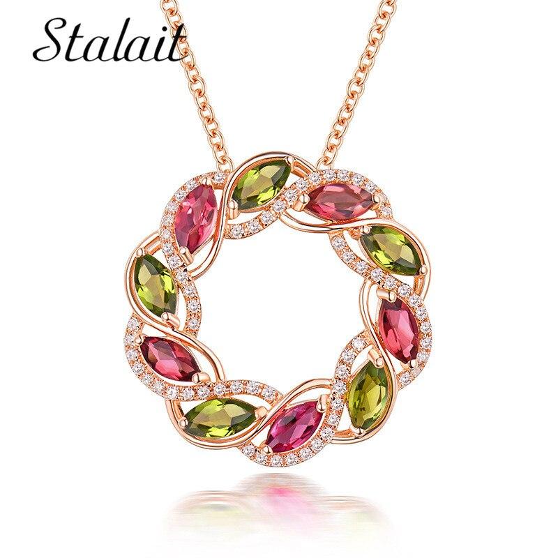 2018 collar de corona de oro Simple Zirconia cúbica redonda CZ colgante de flores coloridas collares para joyería de mujer
