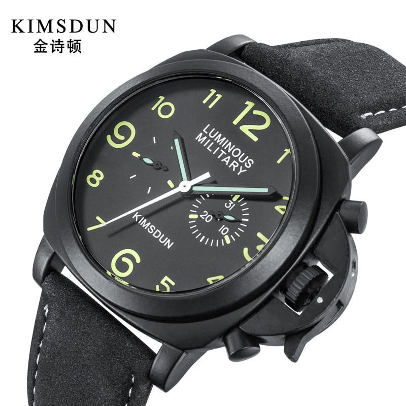 Marca de Luxo Masculino à Prova Mens Relógios Dial Couro Mecânico Automático Relógio Masculino Militar d' Água Top 43mm